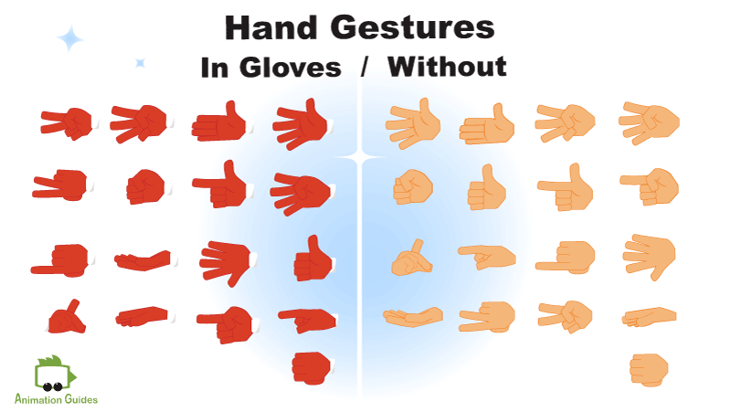 hand gestures for santa puppet in gloves and without them