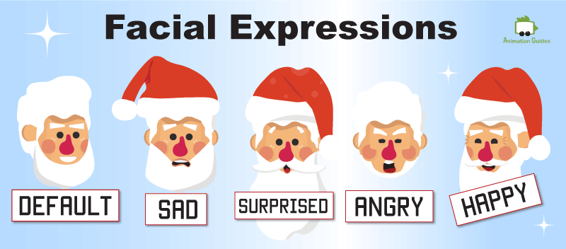 santa puppet for adobe character animator emotions and facial expressions