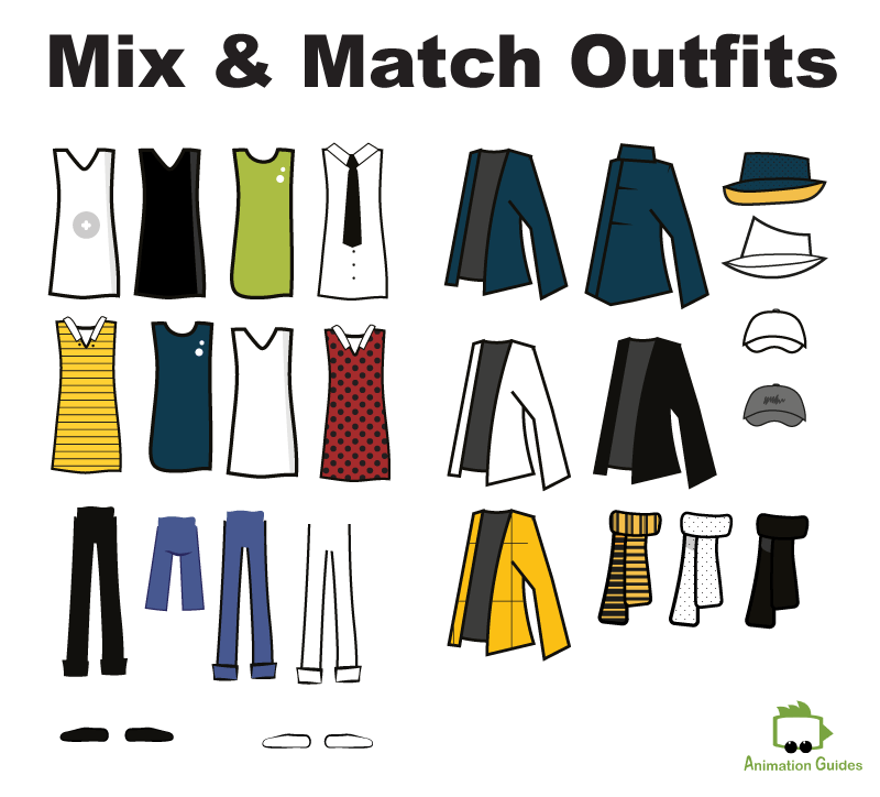mix and match outfits for Reuben stick puppet in Adobe Character Animator
