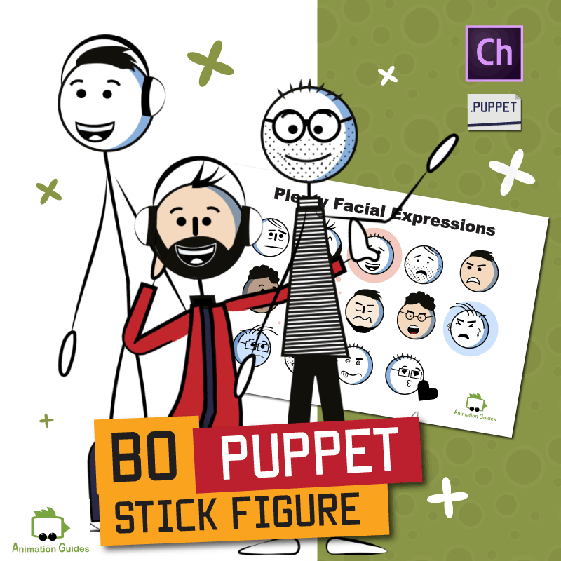 bo stylized generic stick puppet for adobe character animator