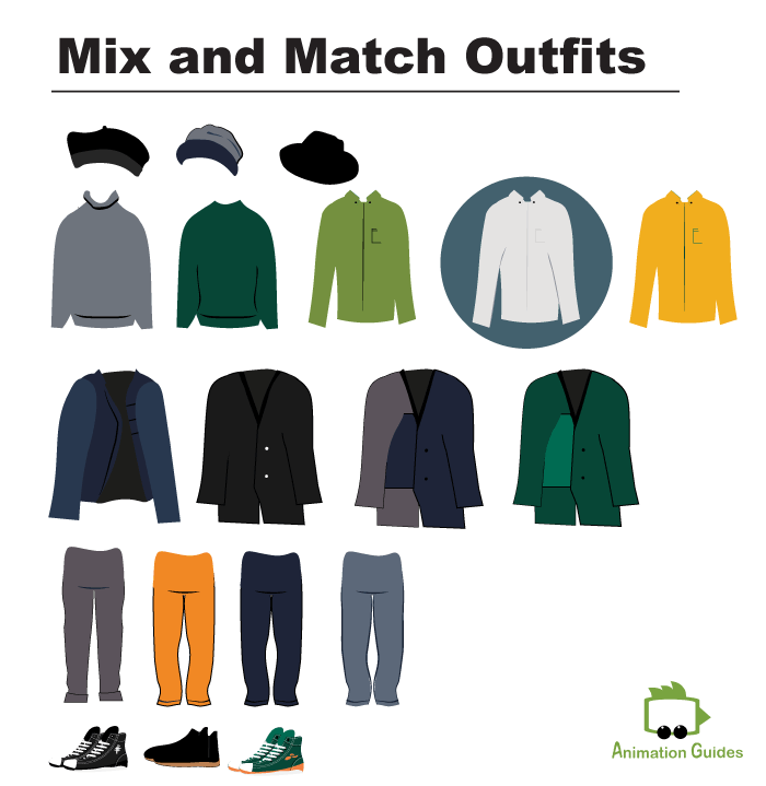 Andrew Puppet mix and match outfits