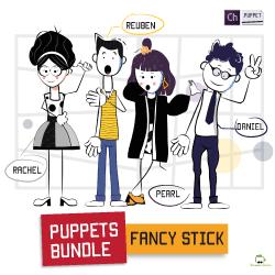 4 stick figure bundle puppets for adobe character animator