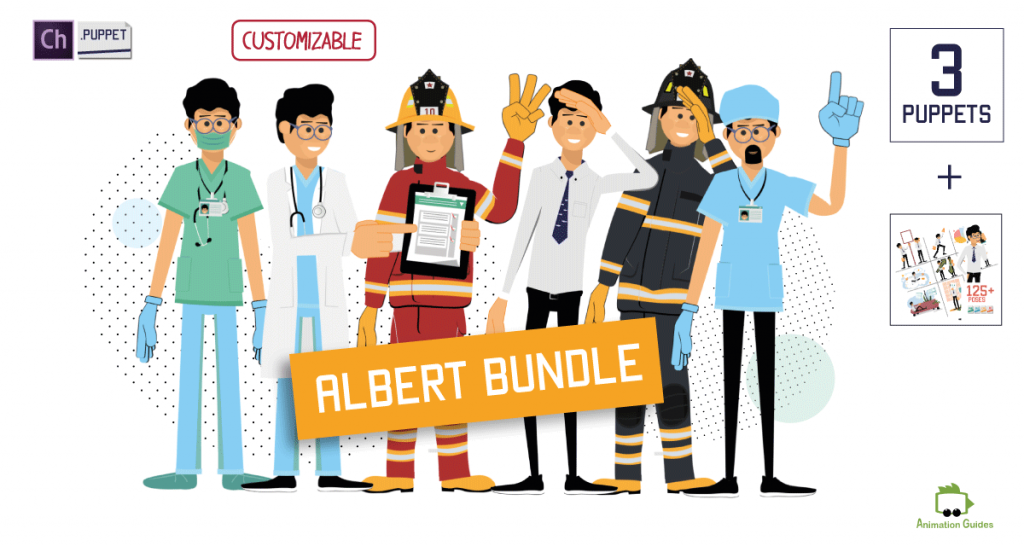 Bundle with 3 albert puppets and albert illustration's pack