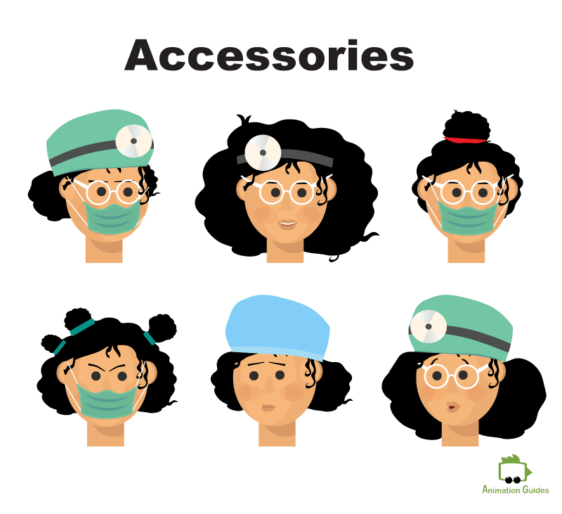 Doctor Gaya Facial Accessories Puppet for Adobe Character Animator