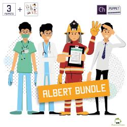 Albert bundle with albert puppet doctor puppet fireman puppet and an illustrations pack