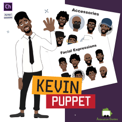 Kevin African American Male Puppet for Adobe Character Animator