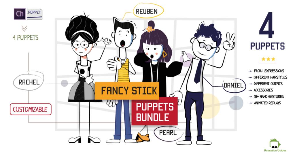 Fancy stick figure 4 puppets bundle