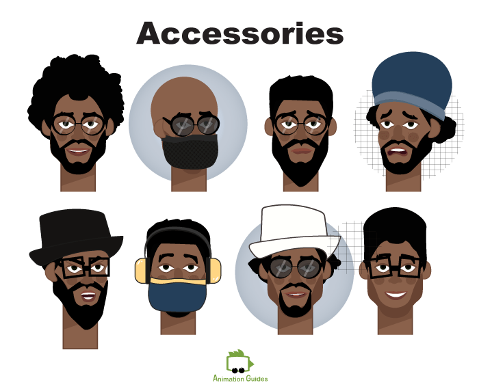 facial accessories for kevin male african american puppet for adobe character animator