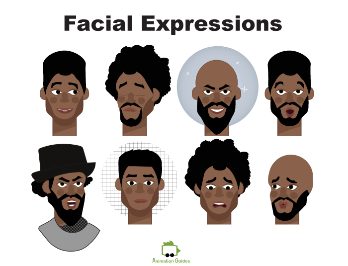 facial expressions for kevin male african american puppet for adobe character animator