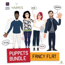 fancy flat puppets bundle for adobe character animator