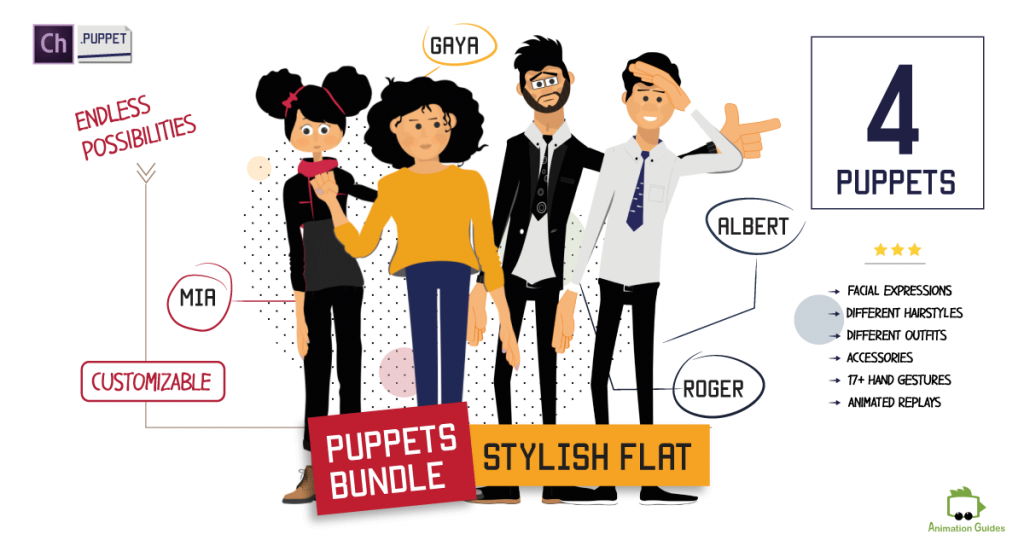 puppets bundle for adobe character animator with 4 stylish flat puppets