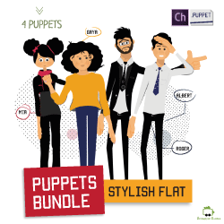 stylish flat puppets for adobe character animator