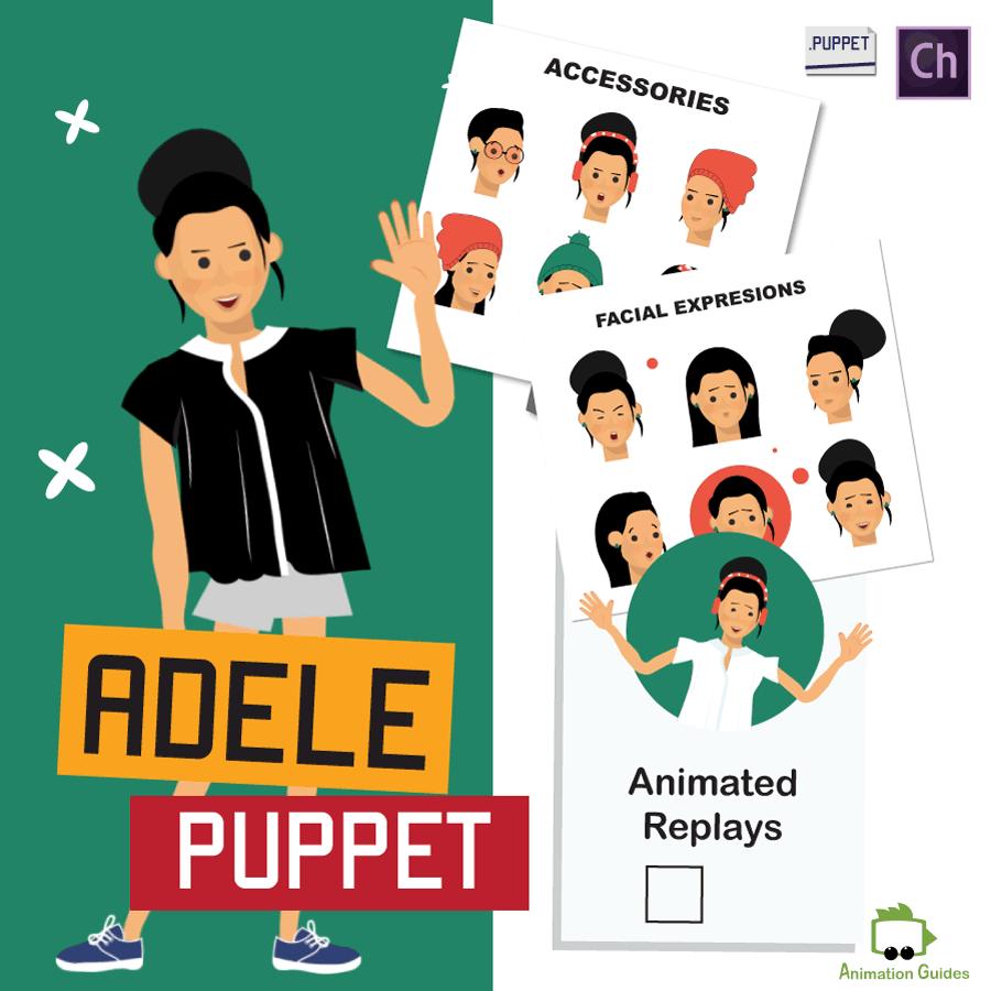 adele stylish female puppet for Adobe Character animator
