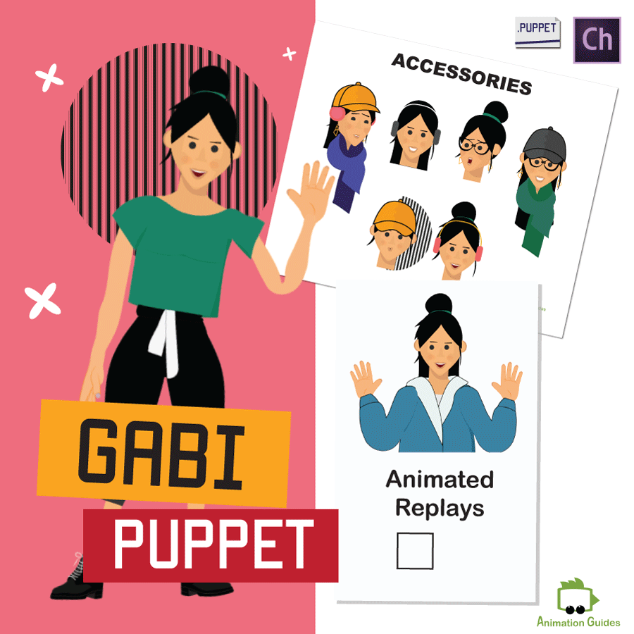 gabi athletic female puppet for Adobe Character Animator