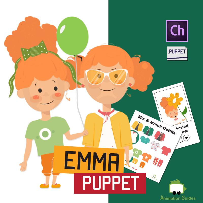 Emma Customizable Little Girl Puppet for Adobe Character Animator