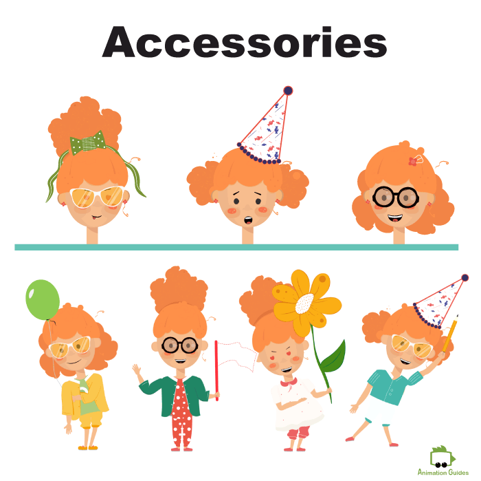 Emma little girl puppet accessories in adobe character animator