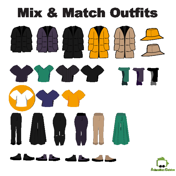 Mix and match outfits items for customizable Tamara puppet adobe Ch.