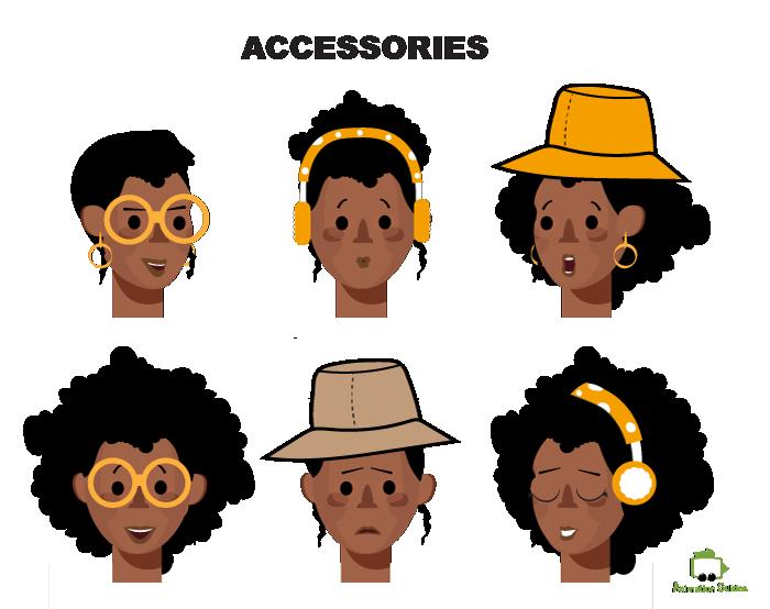 Tamara female puppet facial accessories