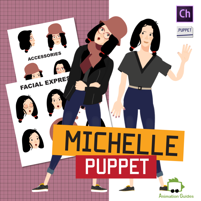 Download Michelle Stylish Female Puppet for Adobe Character Animator