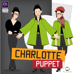 Charlotte fashionable woman puppet for Adobe Character Animator