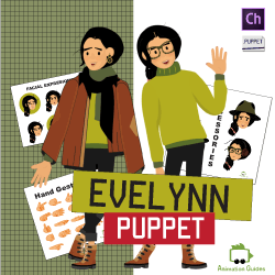 Download Evelynn customizable teenage girl puppet for adobe character animator