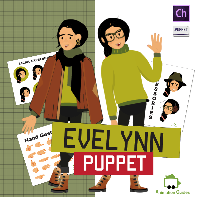 Evelynn customizable teenage girl puppet for adobe character animator