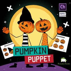 Customizable pumpkin puppet with different outfits for Adobe Character Animator