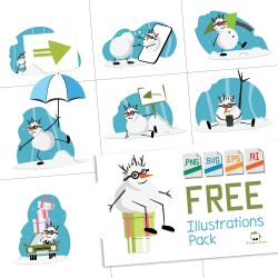 free illustrations pack for winter holidays and snowman