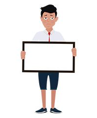 jim character with blank sign