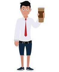 jim character with coffee