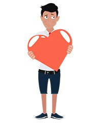 jim character with red heart