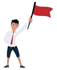 jim character with red flag