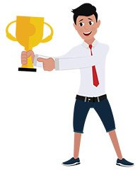 jim character with trophy