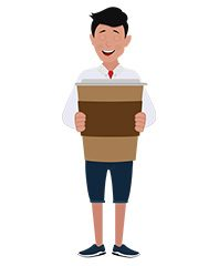 jim character with large coffee cup