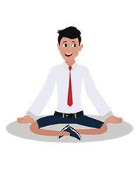 jim character in yoga pose