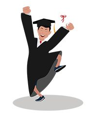 jim character student graduated excited