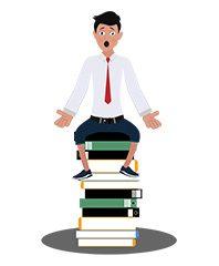 jim character sitting on books