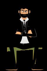 Roger gestures sitting