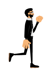 Roger gestures walk fist up