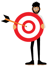 Rogerio with objects with a target board
